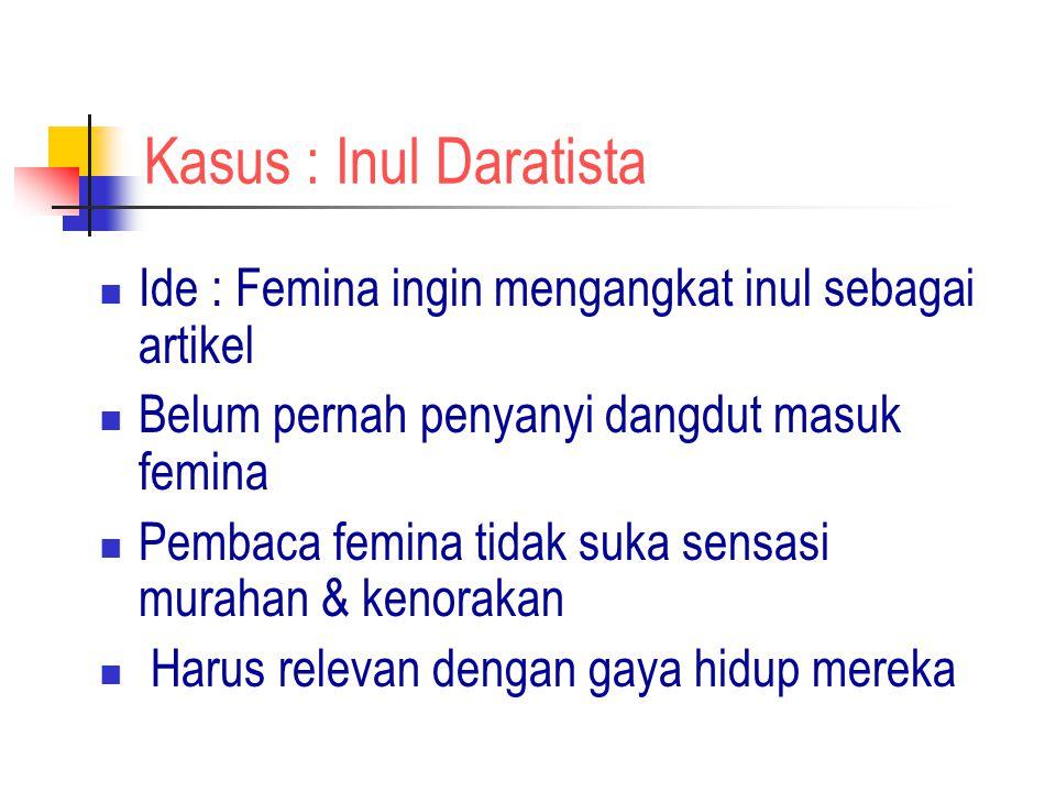 Kasus : Inul Daratista Ide : Femina ingin mengangkat inul sebagai artikel. Belum pernah penyanyi dangdut masuk femina.