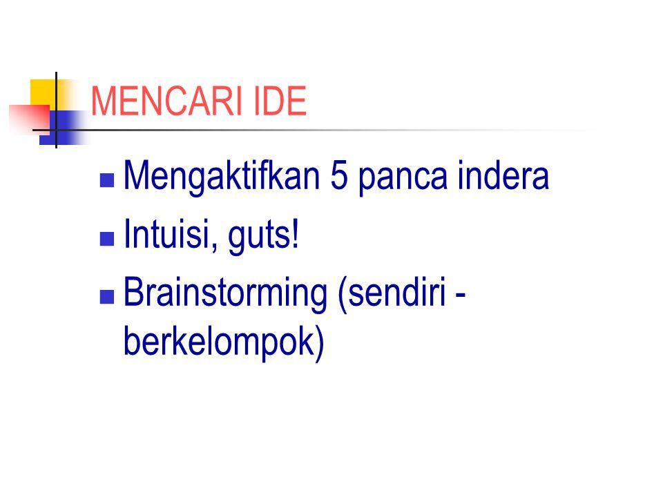 MENCARI IDE Mengaktifkan 5 panca indera Intuisi, guts! Brainstorming (sendiri -berkelompok)