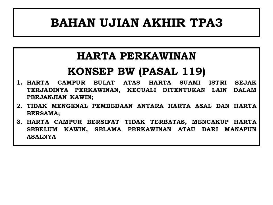 BAHAN UJIAN AKHIR TPA3 HARTA PERKAWINAN KONSEP BW (PASAL 119)