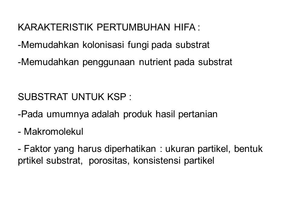KARAKTERISTIK PERTUMBUHAN HIFA :
