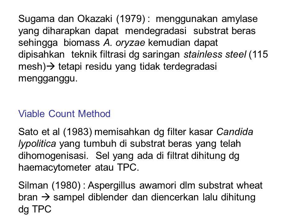 Sugama dan Okazaki (1979) : menggunakan amylase yang diharapkan dapat mendegradasi substrat beras sehingga biomass A. oryzae kemudian dapat dipisahkan teknik filtrasi dg saringan stainless steel (115 mesh) tetapi residu yang tidak terdegradasi mengganggu.