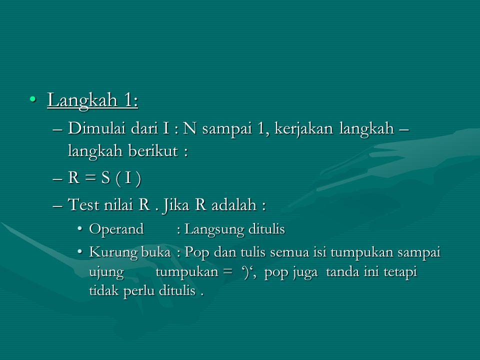Langkah 1: Dimulai dari I : N sampai 1, kerjakan langkah – langkah berikut : R = S ( I ) Test nilai R . Jika R adalah :