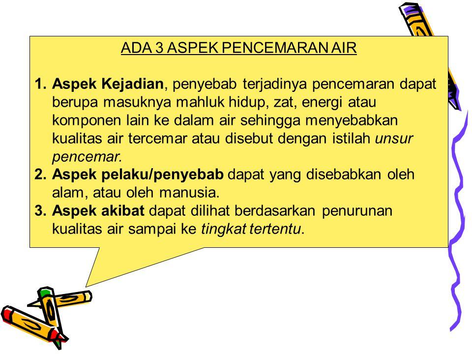 ADA 3 ASPEK PENCEMARAN AIR