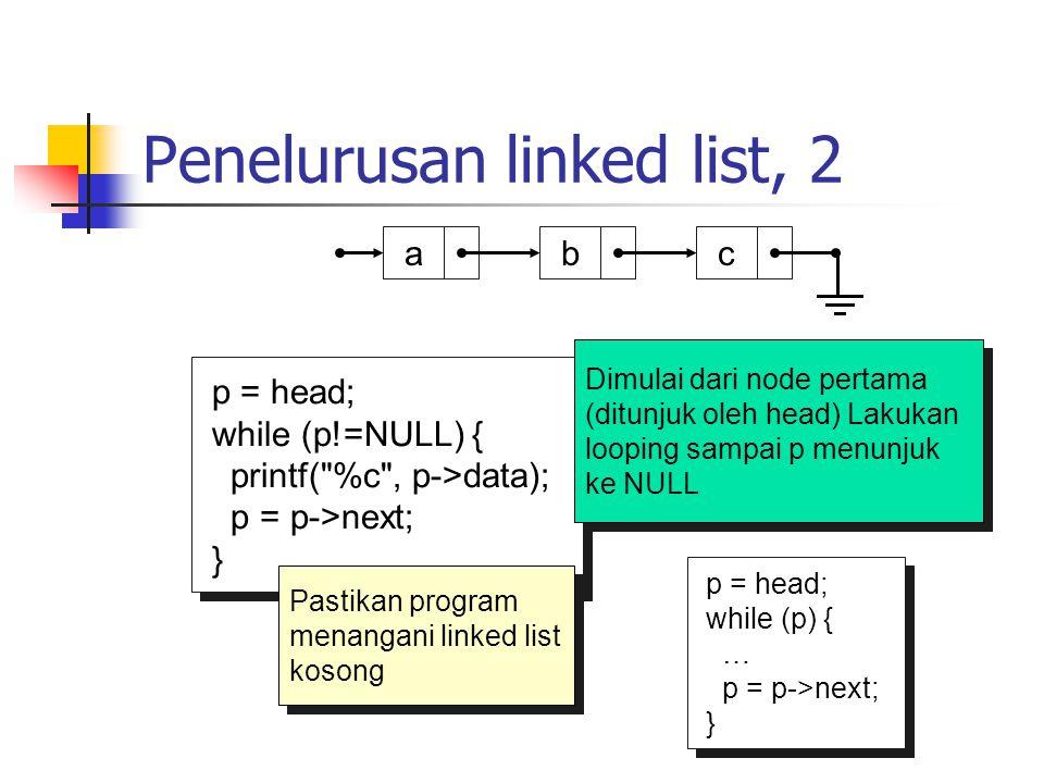 Penelurusan linked list, 2