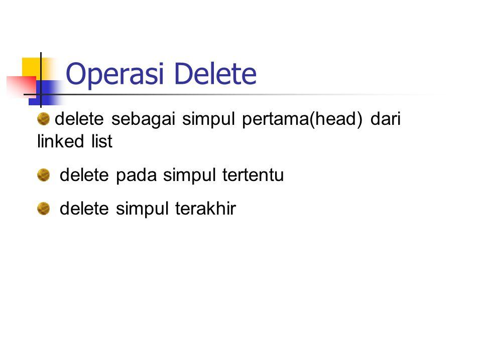 Operasi Delete delete sebagai simpul pertama(head) dari linked list