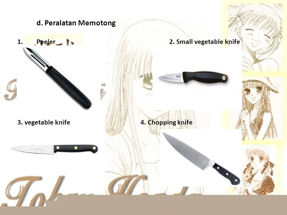d. Peralatan Memotong Peeler 2. Small vegetable knife