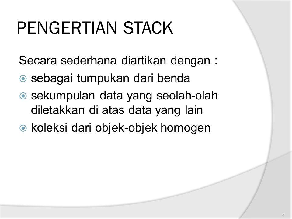 PENGERTIAN STACK Secara sederhana diartikan dengan :