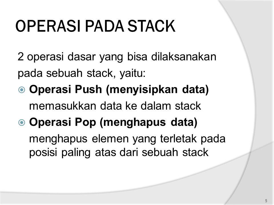 OPERASI PADA STACK 2 operasi dasar yang bisa dilaksanakan