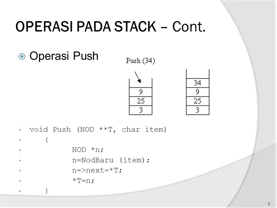 OPERASI PADA STACK – Cont.