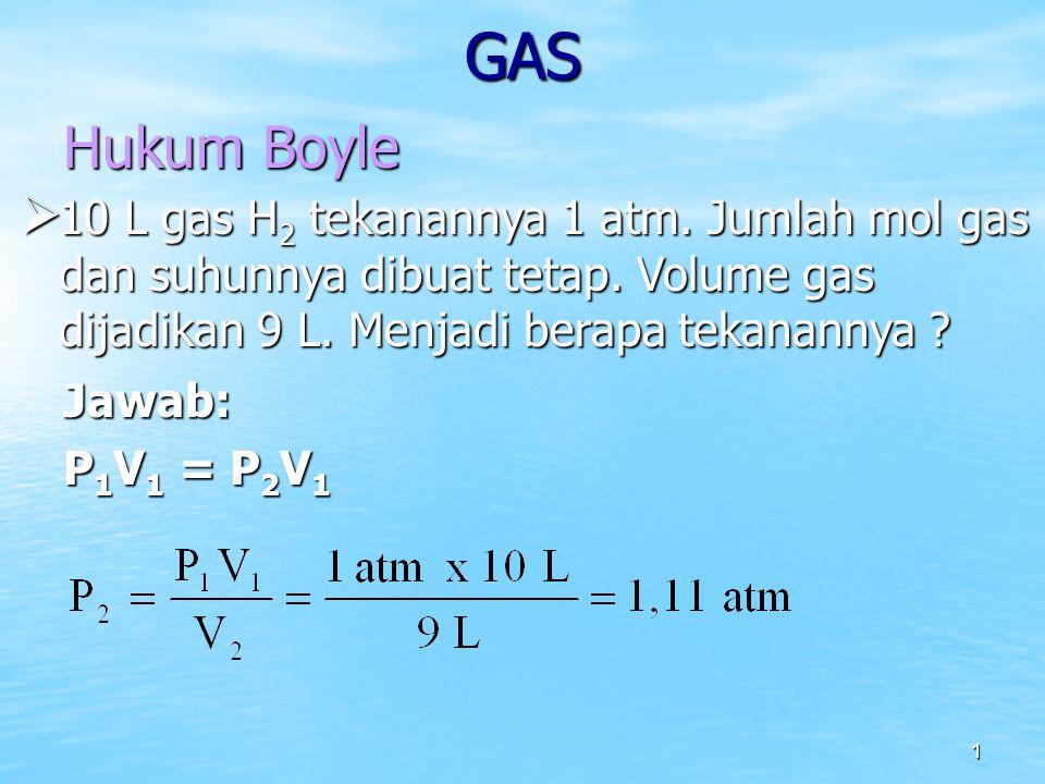 GAS Hukum Boyle. 10 L gas H2 tekanannya 1 atm. Jumlah mol gas dan suhunnya dibuat tetap. Volume gas dijadikan 9 L. Menjadi berapa tekanannya