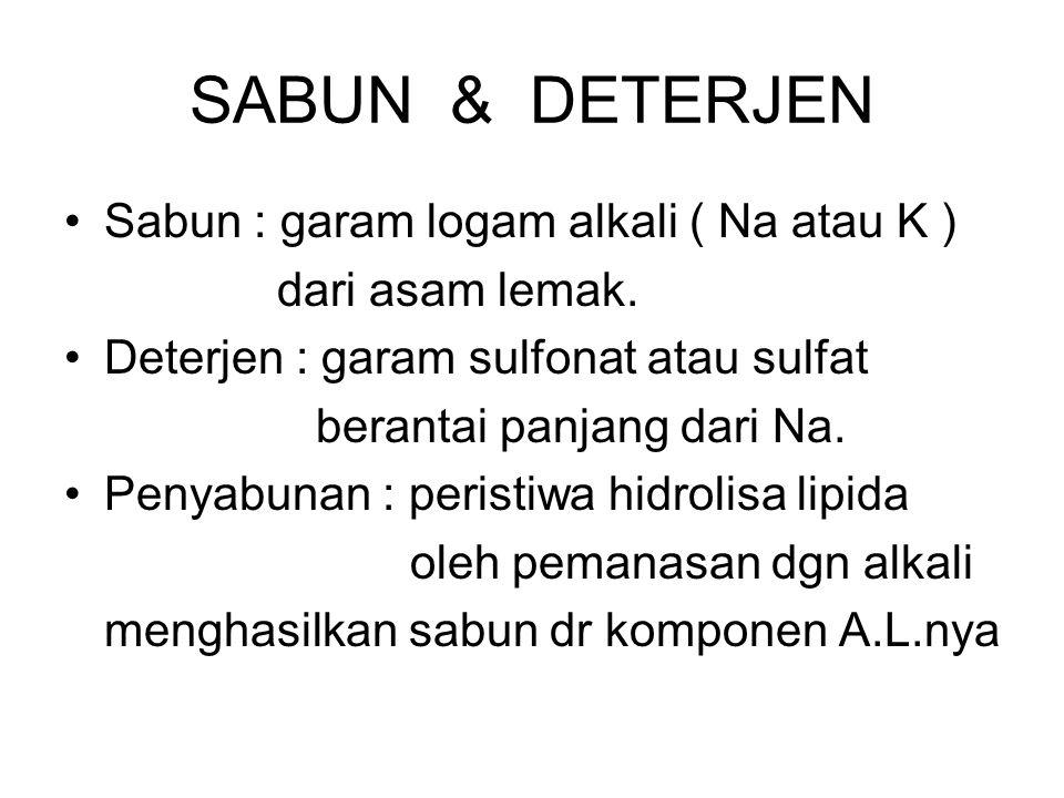 SABUN & DETERJEN Sabun : garam logam alkali ( Na atau K )