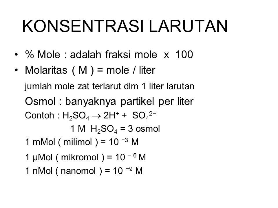 KONSENTRASI LARUTAN % Mole : adalah fraksi mole x 100