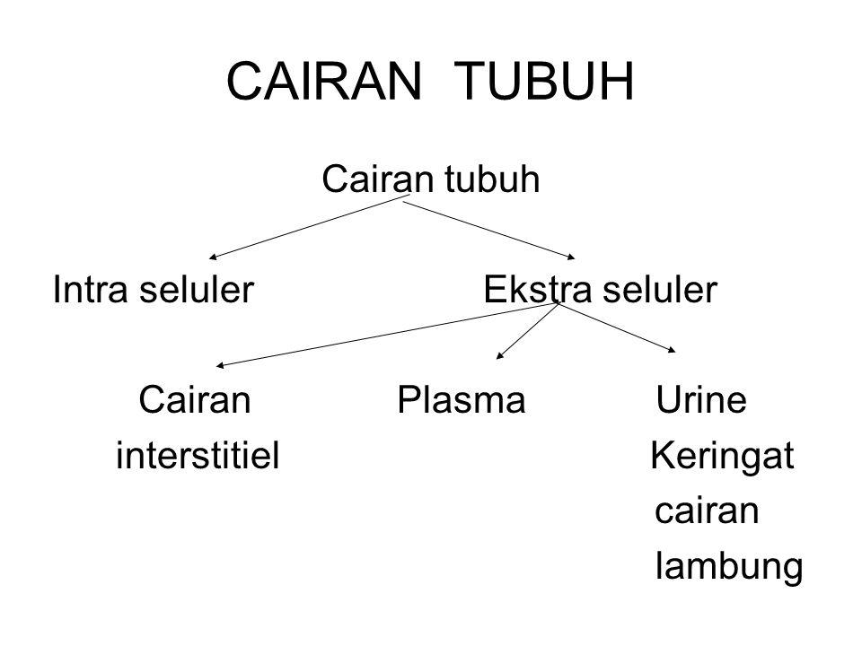 CAIRAN TUBUH Cairan tubuh Intra seluler Ekstra seluler