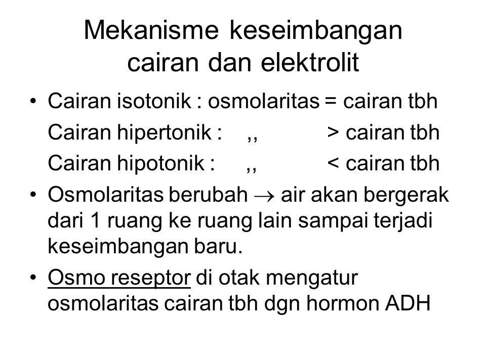 Mekanisme keseimbangan cairan dan elektrolit