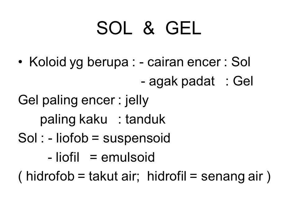 SOL & GEL Koloid yg berupa : - cairan encer : Sol - agak padat : Gel