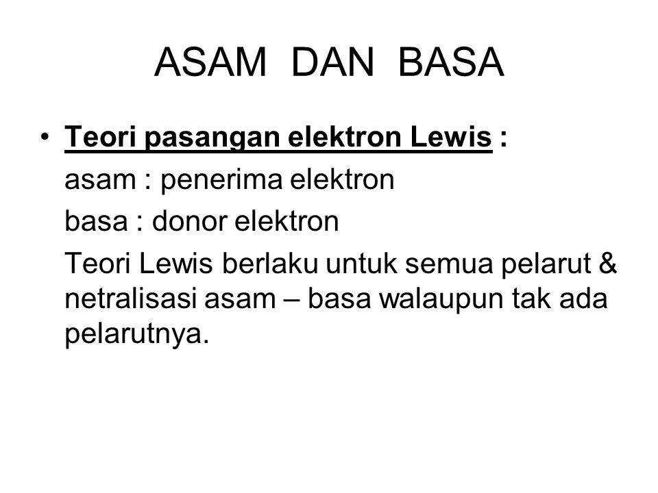 ASAM DAN BASA Teori pasangan elektron Lewis : asam : penerima elektron