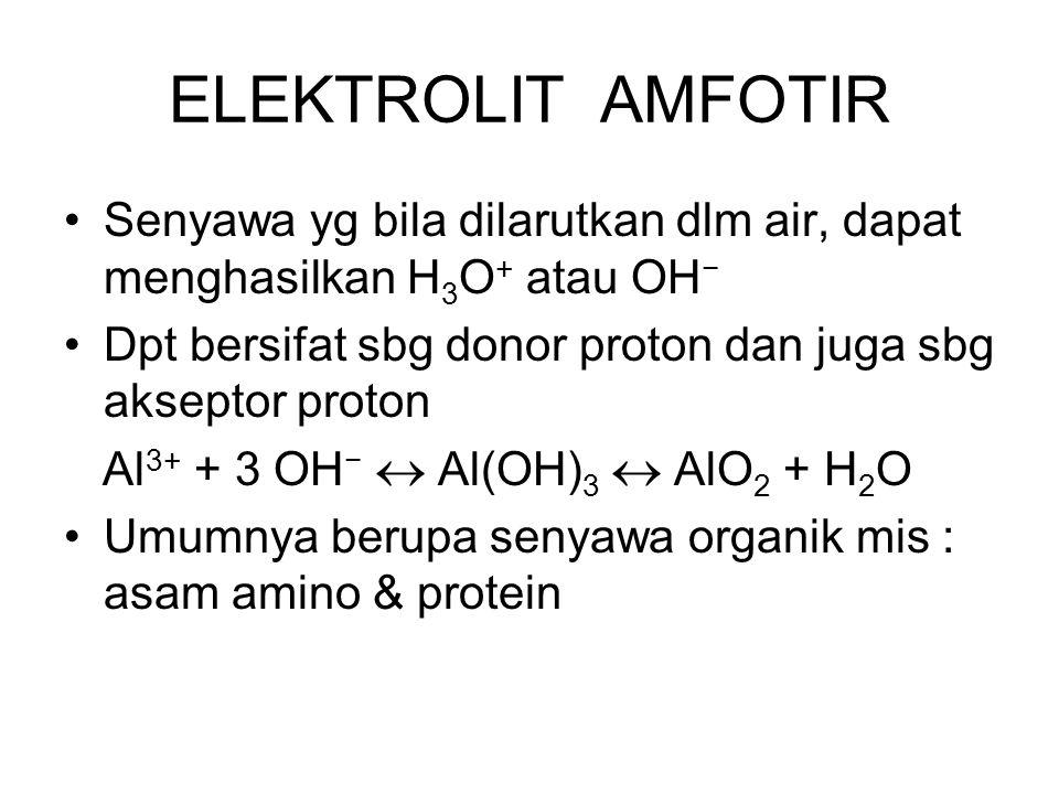 ELEKTROLIT AMFOTIR Senyawa yg bila dilarutkan dlm air, dapat menghasilkan H3O+ atau OH− Dpt bersifat sbg donor proton dan juga sbg akseptor proton.
