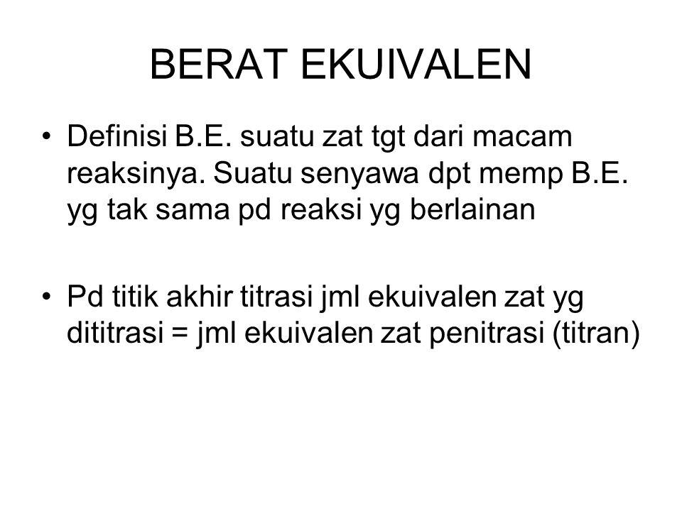 BERAT EKUIVALEN Definisi B.E. suatu zat tgt dari macam reaksinya. Suatu senyawa dpt memp B.E. yg tak sama pd reaksi yg berlainan.
