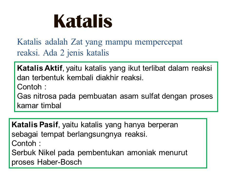 Katalis Katalis adalah Zat yang mampu mempercepat reaksi. Ada 2 jenis katalis.