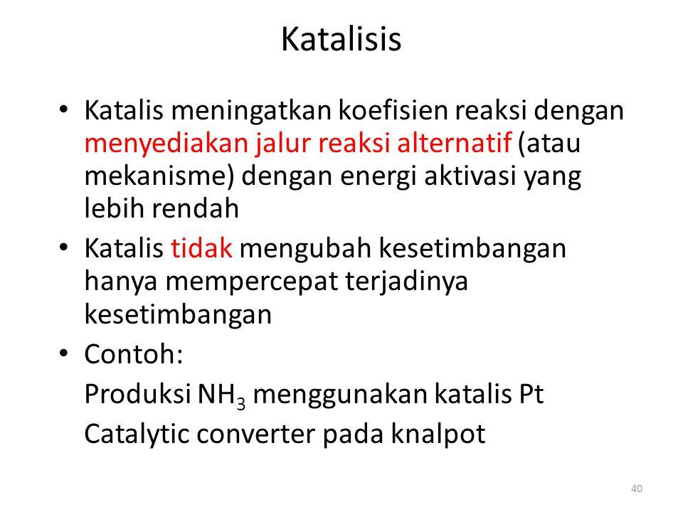 Katalisis Katalis meningatkan koefisien reaksi dengan menyediakan jalur reaksi alternatif (atau mekanisme) dengan energi aktivasi yang lebih rendah.