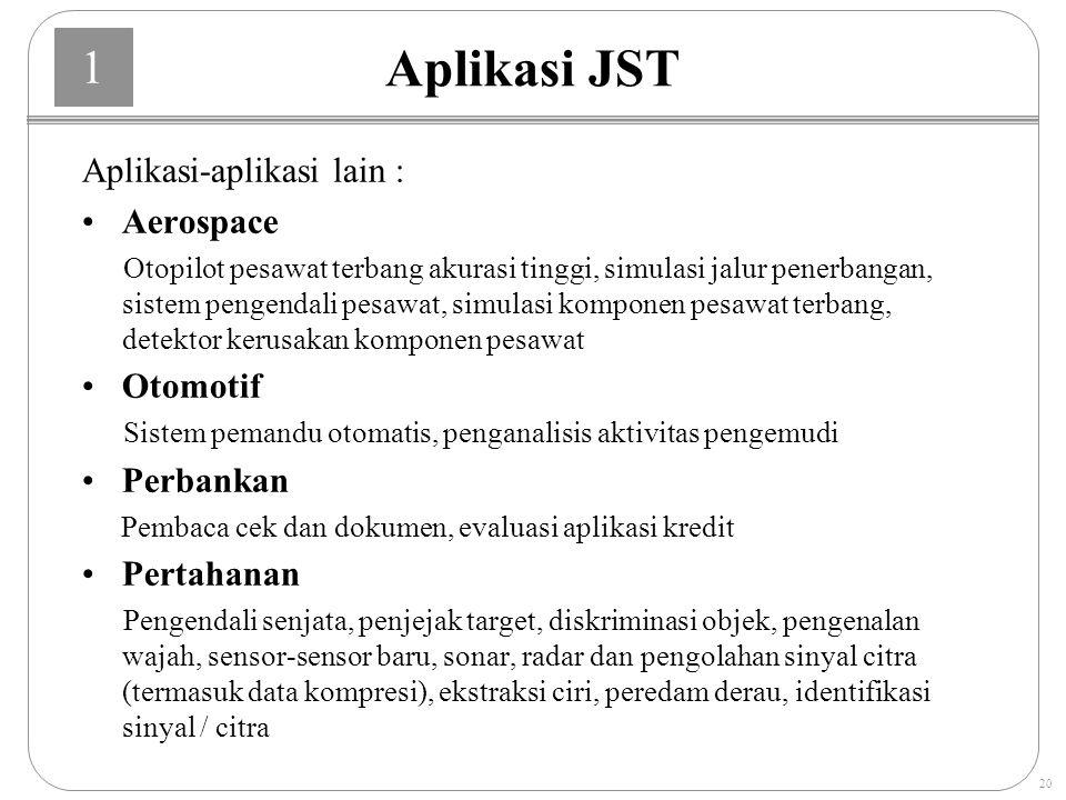 Aplikasi JST Aplikasi-aplikasi lain : Aerospace Otomotif Perbankan