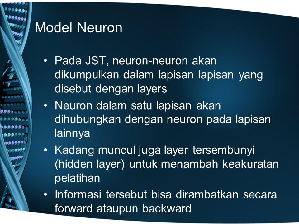 Model Neuron Pada JST, neuron-neuron akan dikumpulkan dalam lapisan lapisan yang disebut dengan layers.