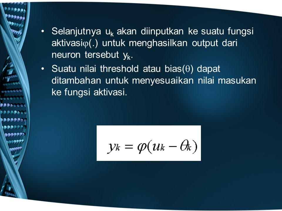 Selanjutnya uk akan diinputkan ke suatu fungsi aktivasi(