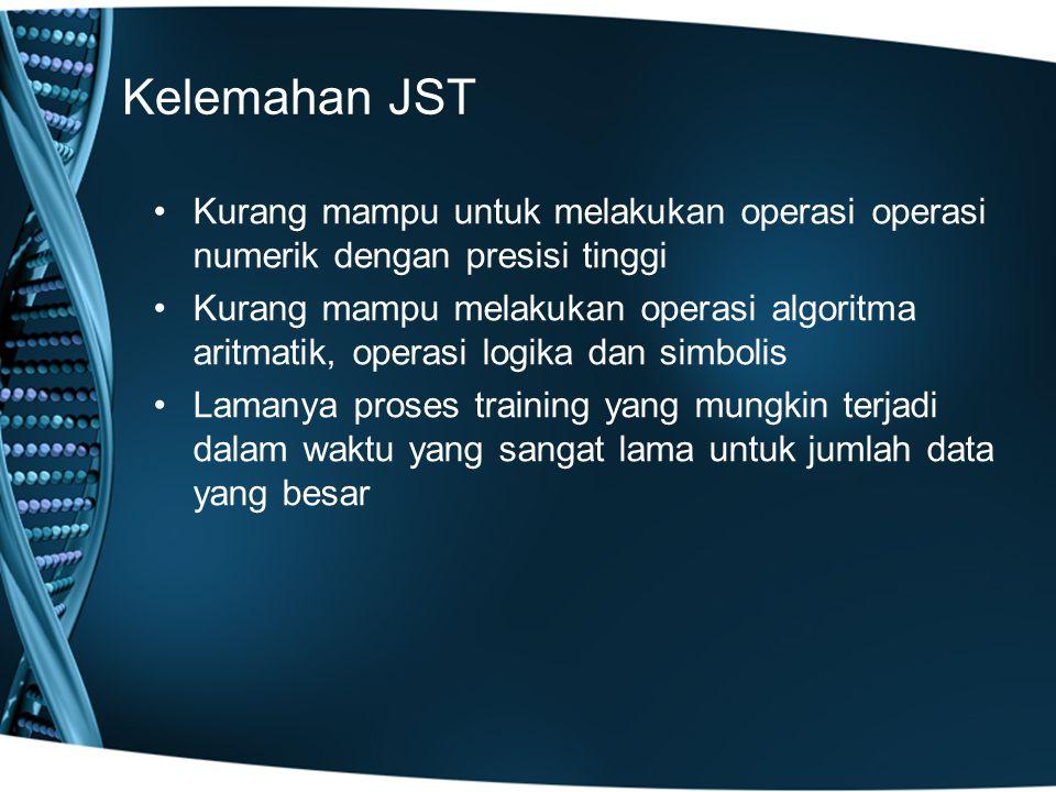 Kelemahan JST Kurang mampu untuk melakukan operasi operasi numerik dengan presisi tinggi.