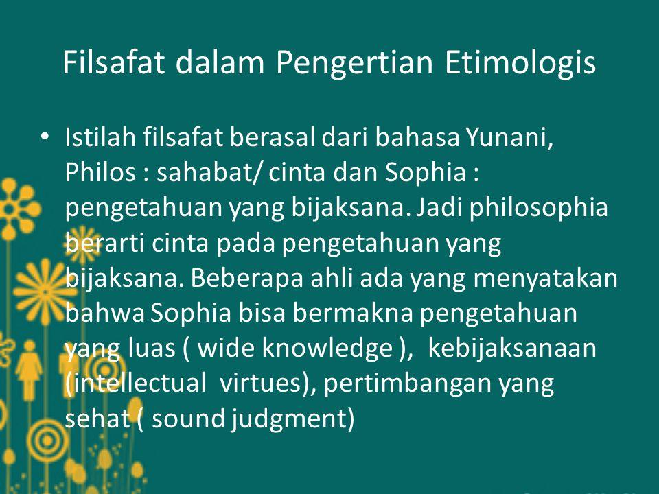 Filsafat dalam Pengertian Etimologis