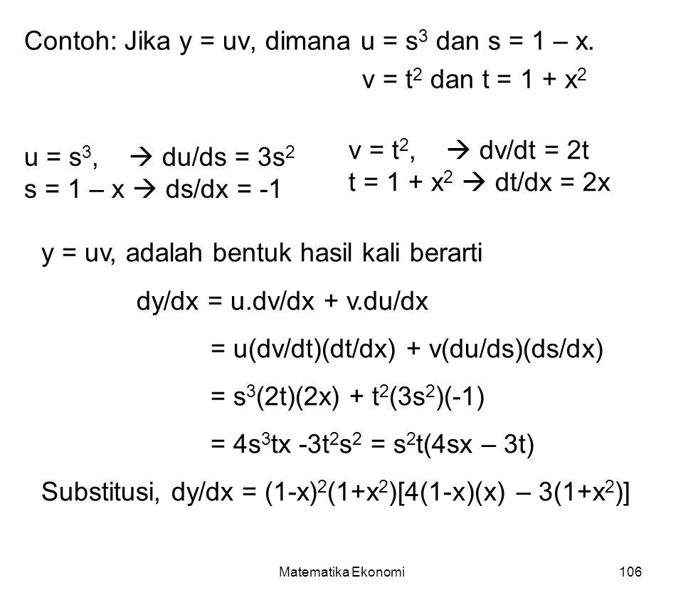Contoh: Jika y = uv, dimana u = s3 dan s = 1 – x.