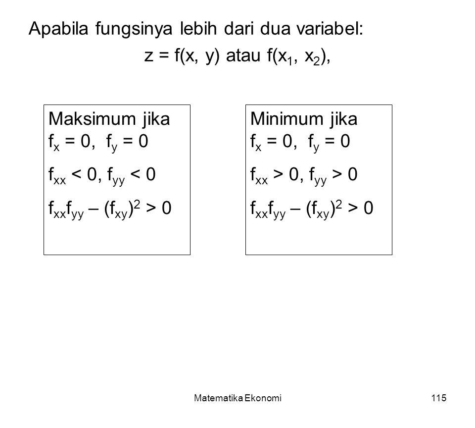 Apabila fungsinya lebih dari dua variabel: z = f(x, y) atau f(x1, x2),