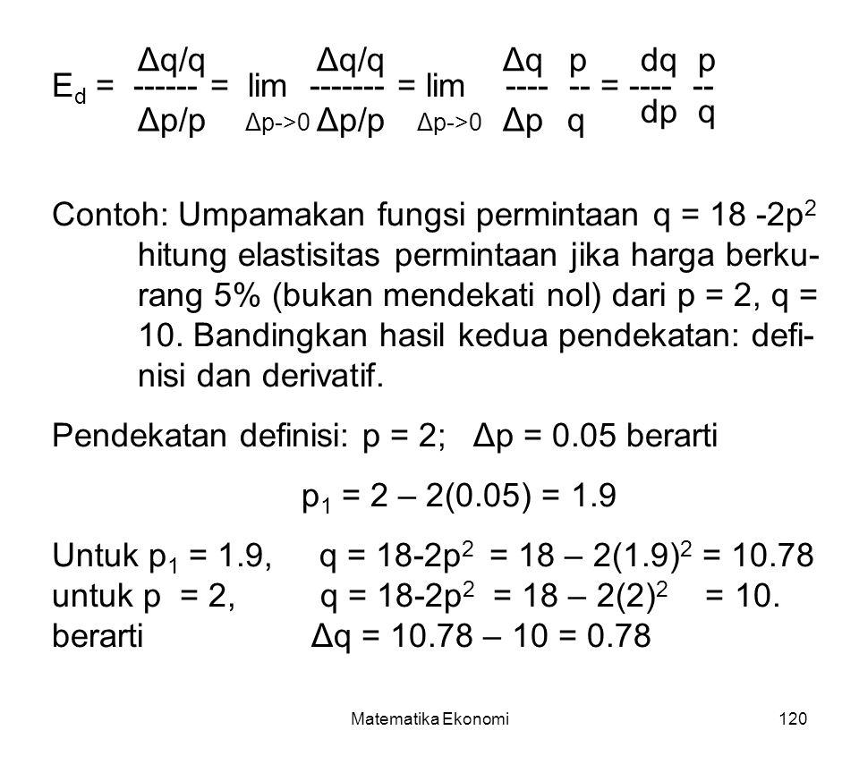 Ed = ------ = lim ------- = lim ---- -- = ---- -- dp q Δp/p Δp/p Δp q