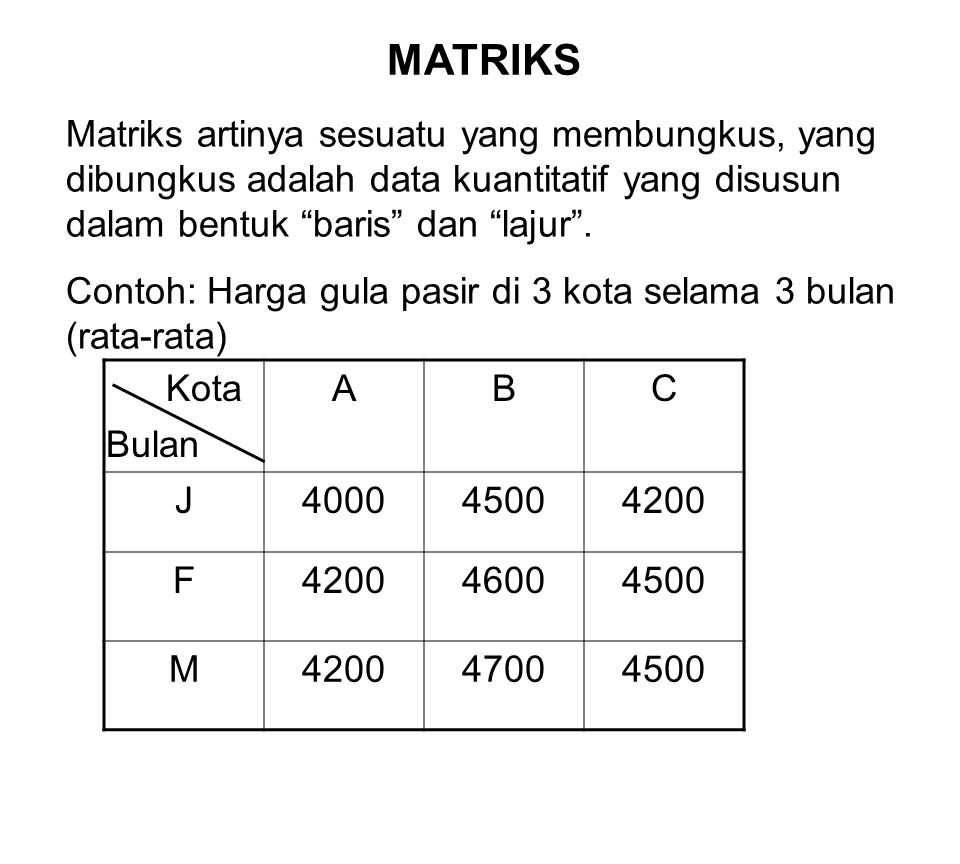 MATRIKS Matriks artinya sesuatu yang membungkus, yang dibungkus adalah data kuantitatif yang disusun dalam bentuk baris dan lajur .