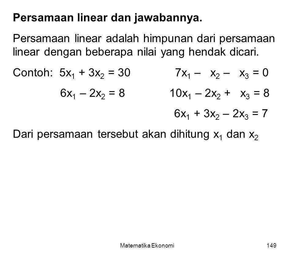 Persamaan linear dan jawabannya.