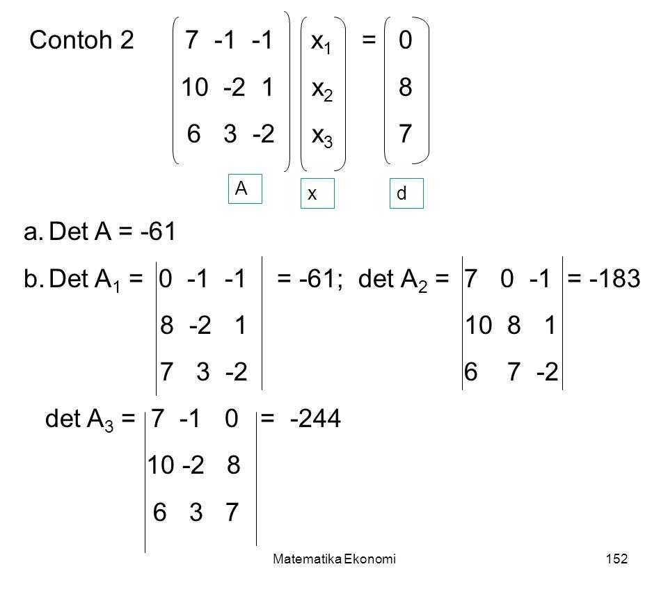 Contoh 2 7 -1 -1 x1 = 0 10 -2 1 x2 8 6 3 -2 x3 7 Det A = -61