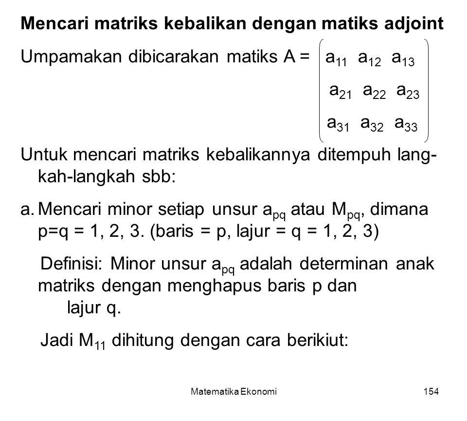 Mencari matriks kebalikan dengan matiks adjoint
