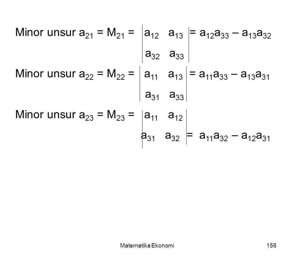 Minor unsur a21 = M21 = a12 a13 = a12a33 – a13a32 a32 a33