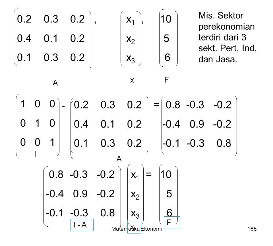 Mis. Sektor perekonomian terdiri dari 3 sekt. Pert, Ind, dan Jasa.