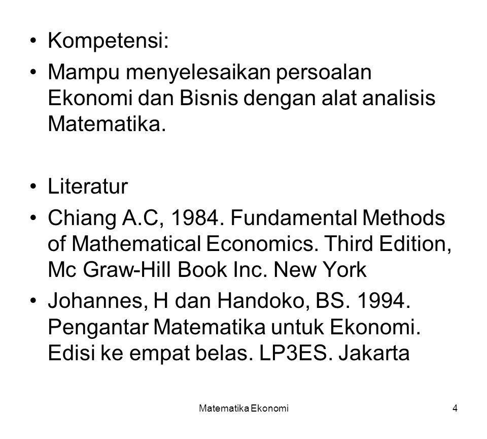 Kompetensi: Mampu menyelesaikan persoalan Ekonomi dan Bisnis dengan alat analisis Matematika. Literatur.