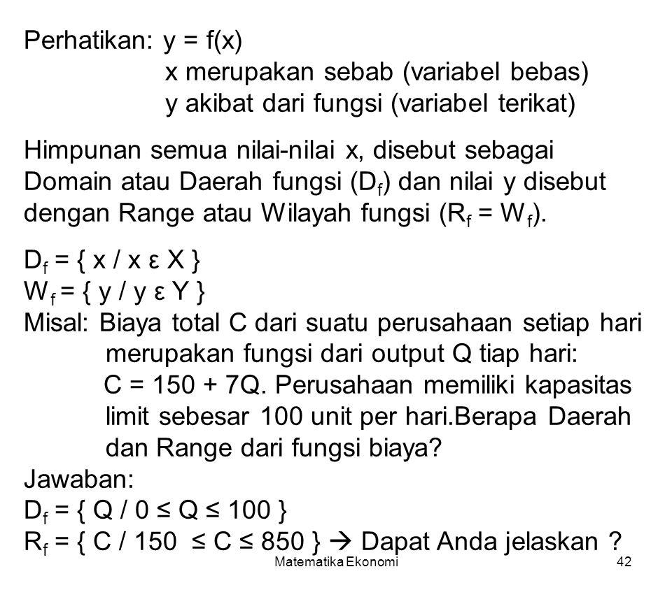 Df = { x / x ε X } Wf = { y / y ε Y }