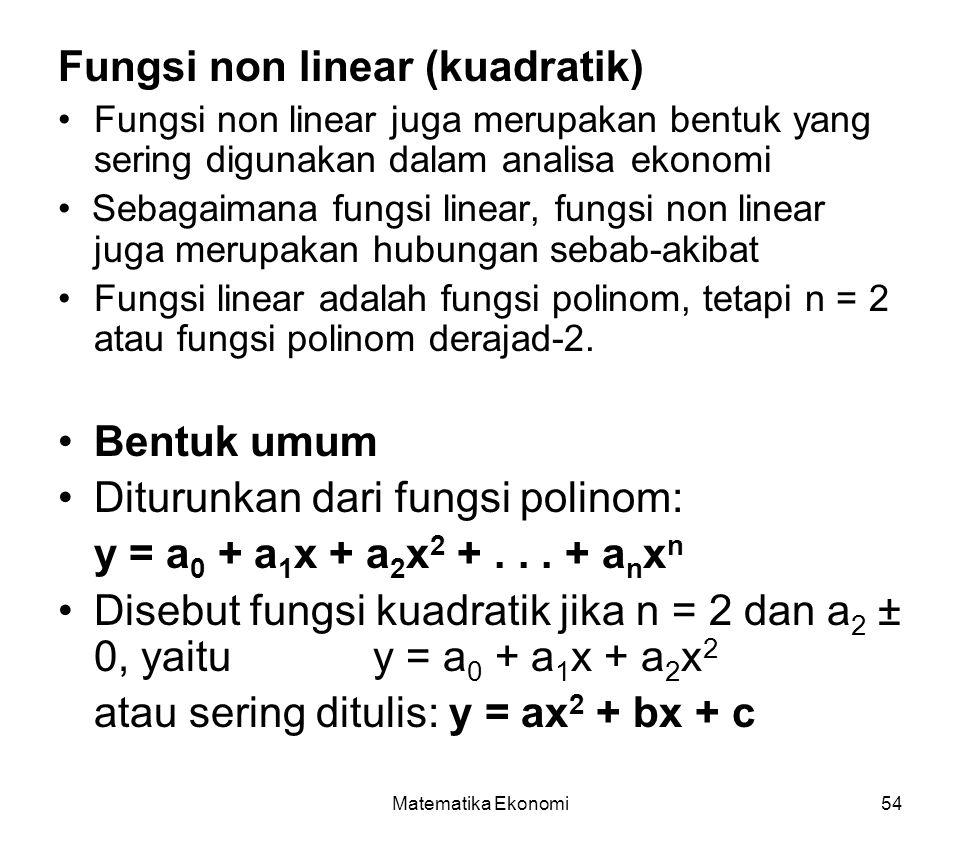 Fungsi non linear (kuadratik)