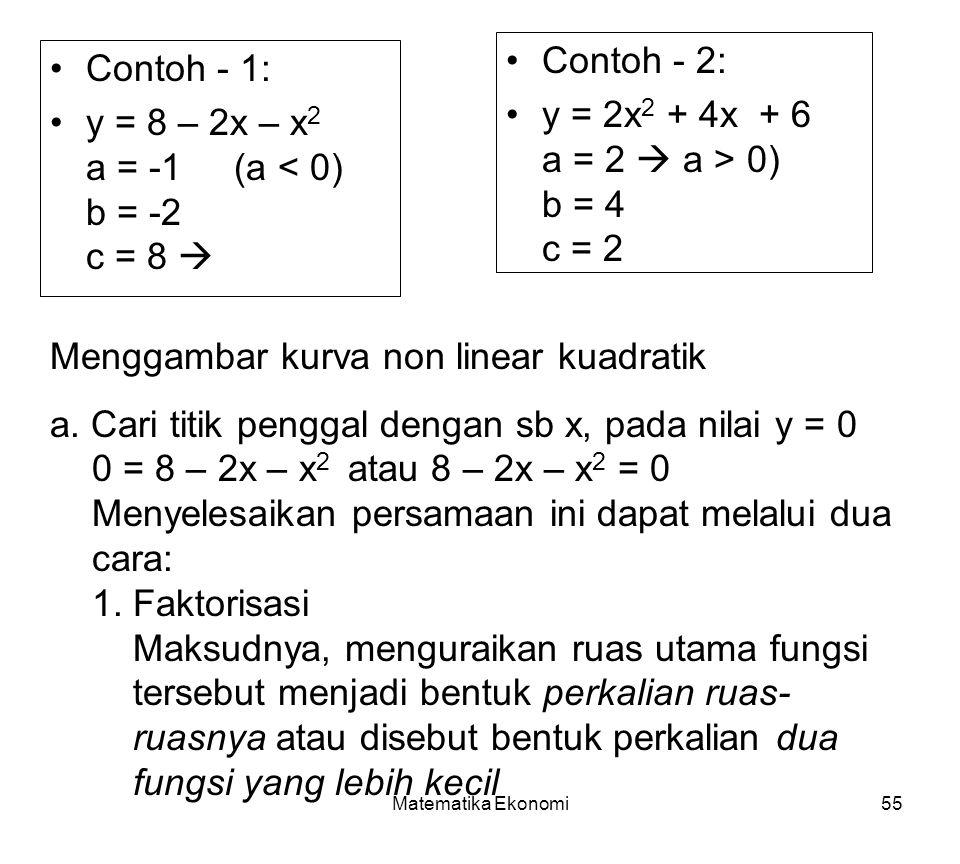 y = 8 – 2x – x2 a = -1 (a < 0) b = -2 c = 8 