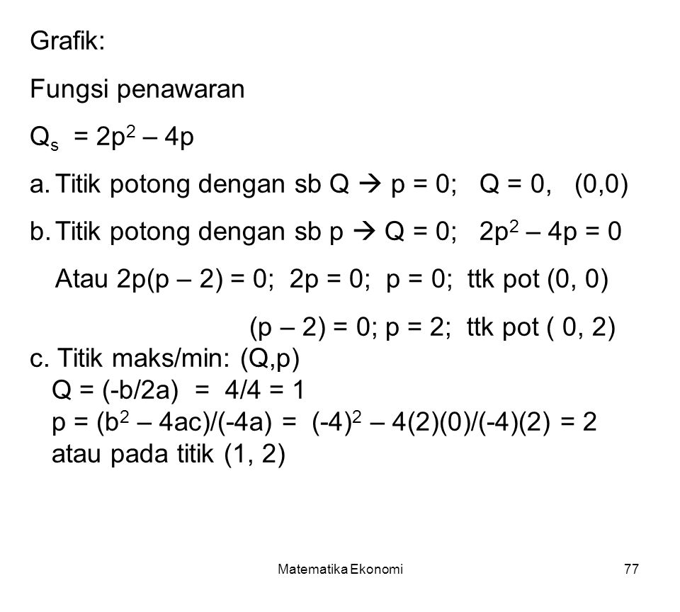 Titik potong dengan sb Q  p = 0; Q = 0, (0,0)