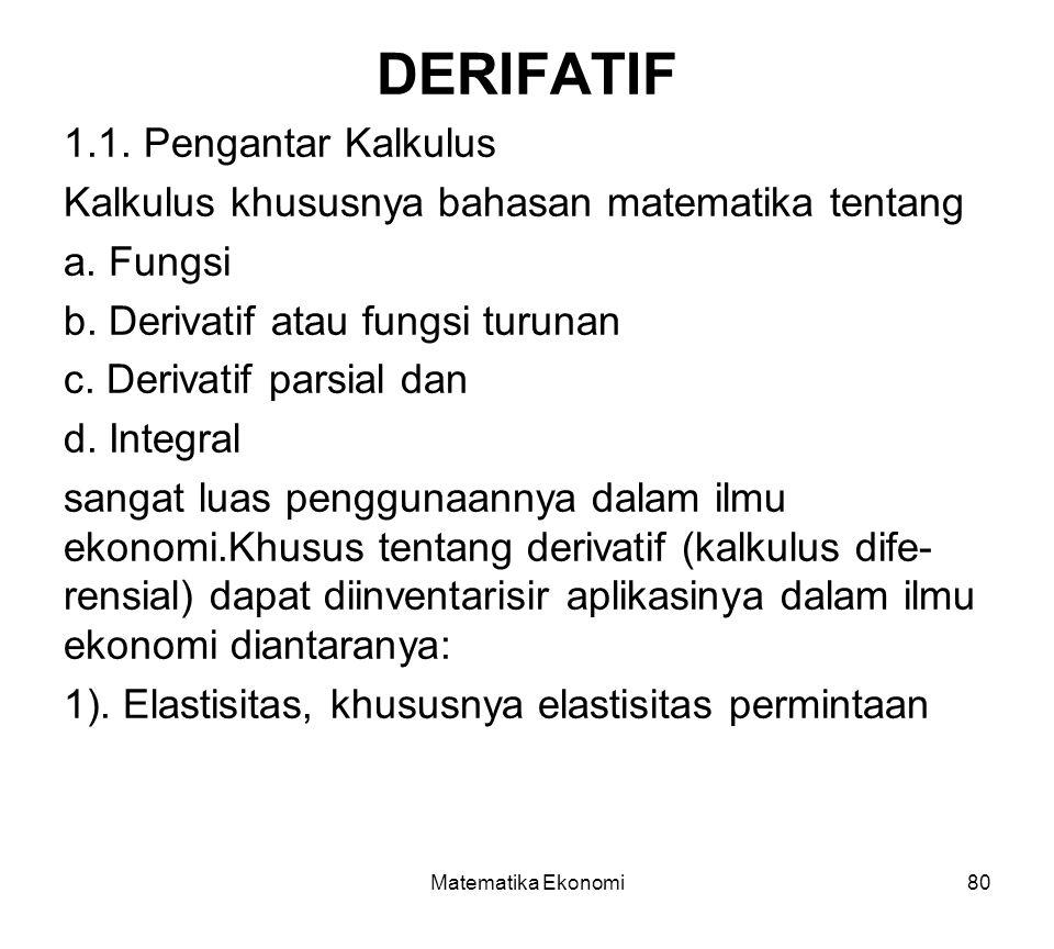 DERIFATIF 1.1. Pengantar Kalkulus