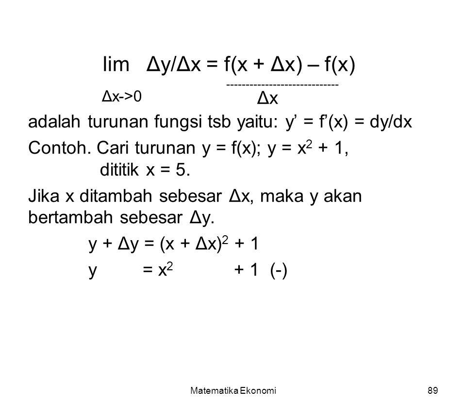 lim Δy/Δx = f(x + Δx) – f(x)
