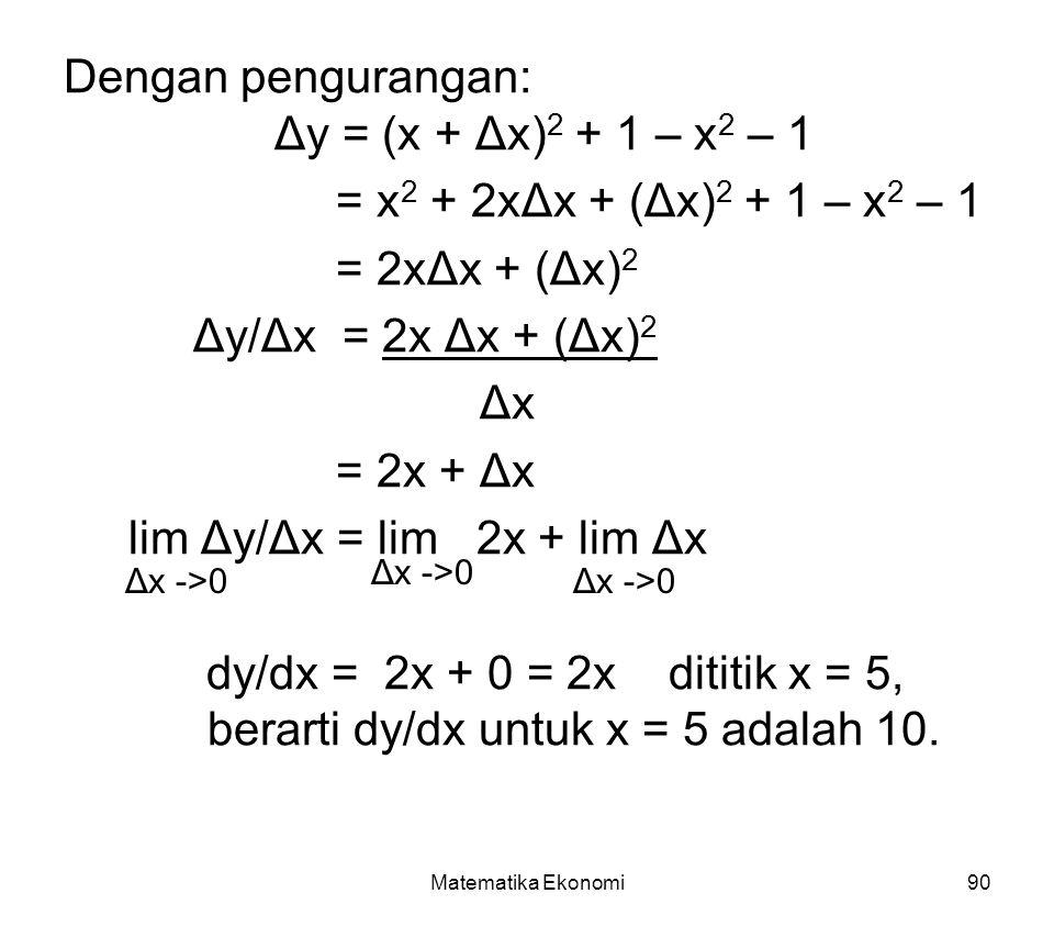 Dengan pengurangan: Δy = (x + Δx)2 + 1 – x2 – 1