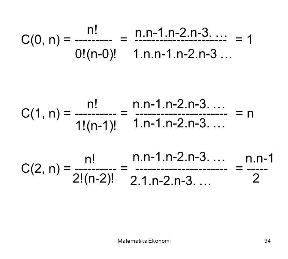 C(0, n) = --------- = ---------------------- = 1