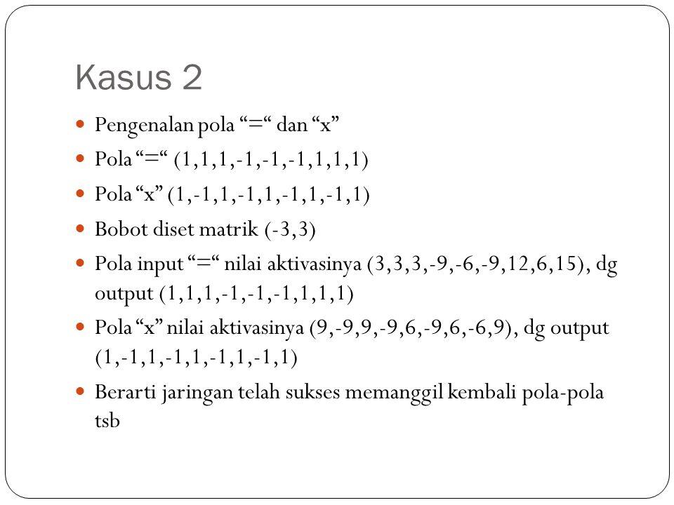 Kasus 2 Pengenalan pola = dan x Pola = (1,1,1,-1,-1,-1,1,1,1)