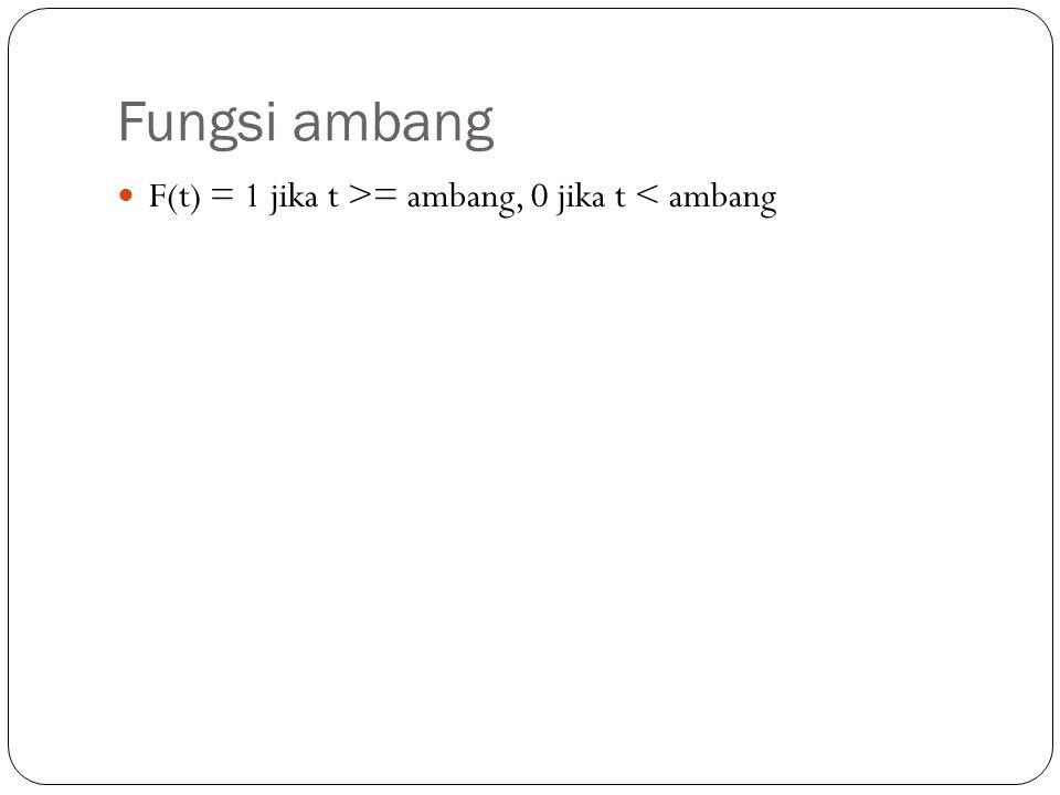 Fungsi ambang F(t) = 1 jika t >= ambang, 0 jika t < ambang