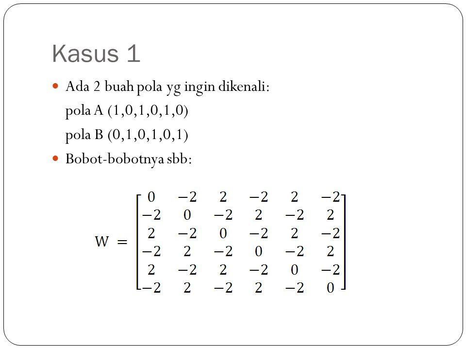 Kasus 1 Ada 2 buah pola yg ingin dikenali: pola A (1,0,1,0,1,0)